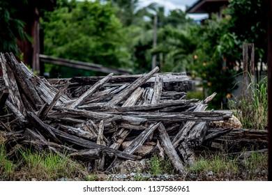 old wood under rail