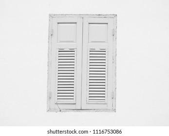 old wood window on wall
