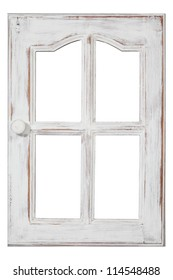 An old wood Window white paint and grunge, Isolated on white