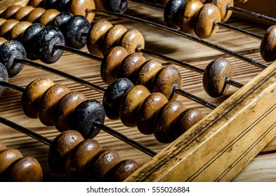 Old wooden abacus on wooden background. Close-up.