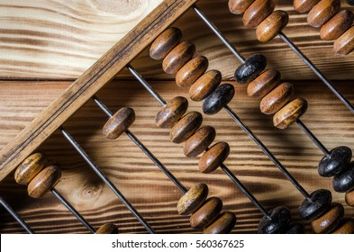 Old wooden abacus on wooden background. Closeup.