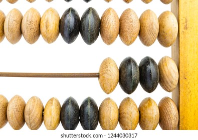 Old wooden abacus on bright background.
