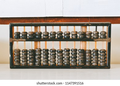 An old wooden abacus on white cement wall background.Popular equipment for the calculations in the past.Especially  business and trading.Before the development of the calculator.Vintage device concept