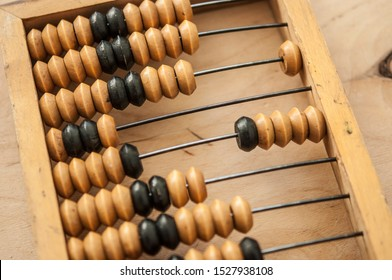 Old wooden abacus on a wood background. Calculating frame. Old scores or calculator.