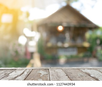 Old wooden balcony that protrudes forward with copy space. Abstract background and blur vission with sunlight effect processed