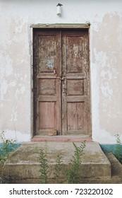 Old wooden barn door, countryside in Ukraine