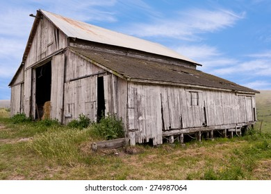 Old Wooden Barn, Hay, Sky