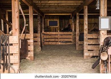 Old Wooden Barn Interior. Barn Photo