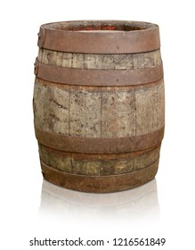 old wooden barrel isolated wine stock rustic