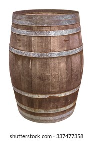 Old wooden barrel for wine with steel ring. Clipping path included.