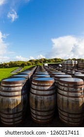 Old wooden barrels and casks stand under open sky maturing Scotch single malt Scotch at whisky distillery in Scotland.