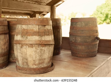 Old wooden barrels outdoor