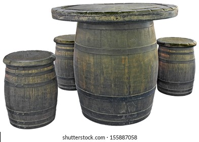 Old wooden barrels used as tables and chairs