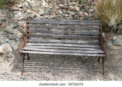Old wooden bench in the desert.