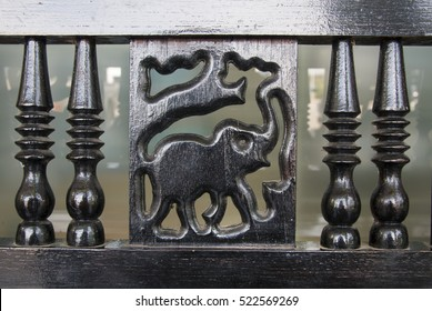 Old Wooden Bench Elephant Carved On Stock Photo Edit Now 522569257