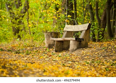 Old wooden bench in the forrest