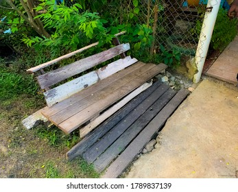 An old wooden bench in the garden
