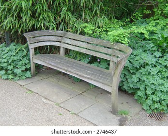 old wooden bench on a park
