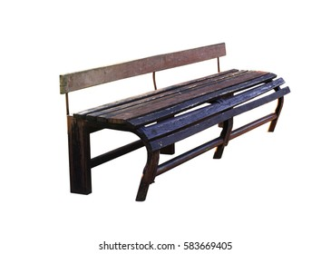 Old wooden bench on a white background.