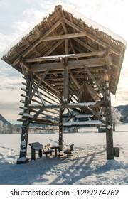 Old wooden bilding with boat near Weissensee Austria 2019