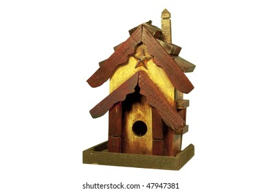 old wooden bird house isolated with clipping path at this size