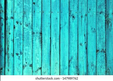 old wooden blue fence