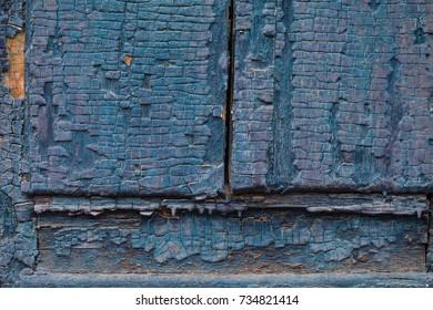 Old wooden blue paint door