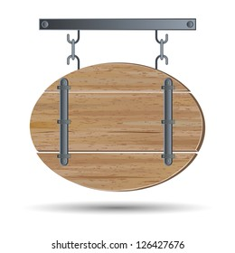 Old wooden board image. Raster version of vector illustration.