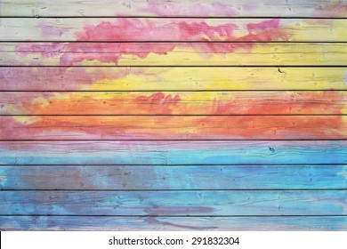 Old wooden board in rainbow colors, good structure and detail