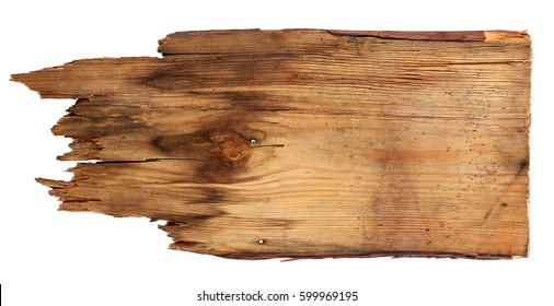 old wooden boards isolated on white background. close up of an empty wooden sign on white background with clipping path