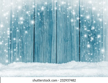 Old wooden  boards and white snow background