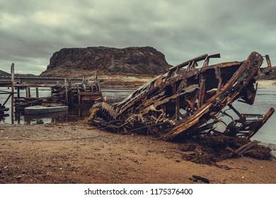 Old wooden boat in Teriberka, Murmansk region