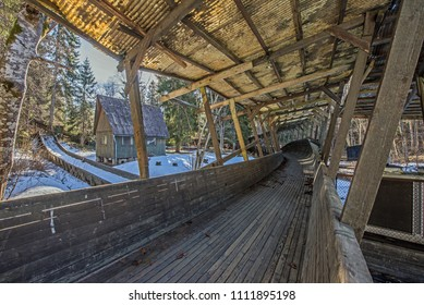 Old wooden bobsleigh and luge track in Murjani, Latvia (built in 70ies for training)
