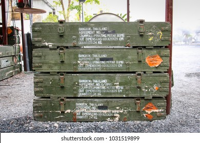 The old wooden box of 120 mm illumination mortar bomb ammunition.