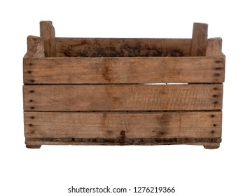 Old wooden box, crate, isolated on white. Front view, empty.