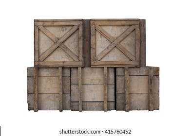 Old Wooden box isolated.
