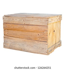 Old wooden box isolated on white