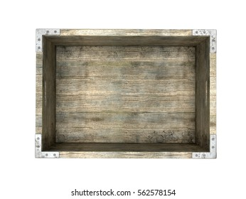 old wooden box isolated on white background. 3D illustration.