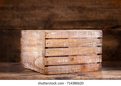 old wooden box on a wooden background