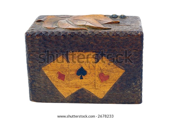 Old wooden box for playing cards
