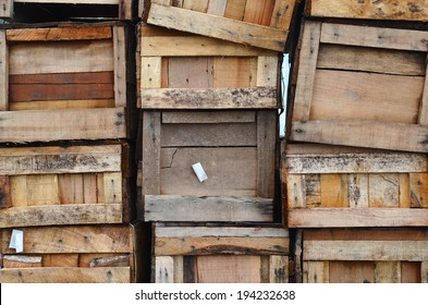 Old wooden boxes stacked vertically
