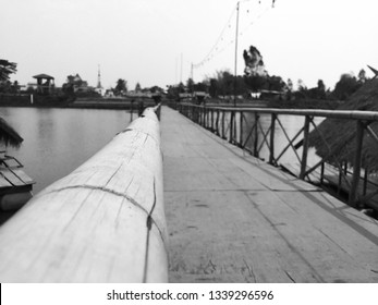 Old wooden bridge black and white image.