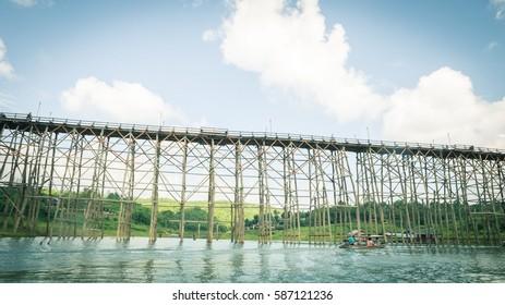 The old wooden bridge in Kanjanaburi