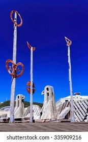 Old wooden bridge landmark - destination Wellington, North Island, New Zealand