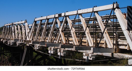 Old wooden bridge outback australia