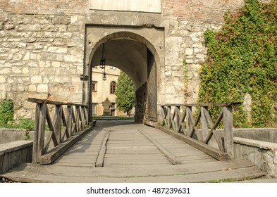 old wooden bridge over the moat