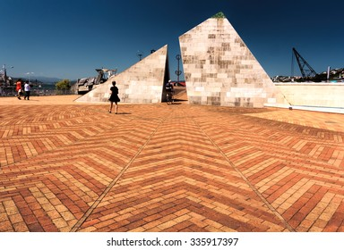Old wooden bridge pyramid landmark -Wellington, North Island, New Zealand