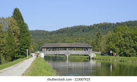 "An old wooden bridge at the river ""Isar"" near Munich in Bavaria"