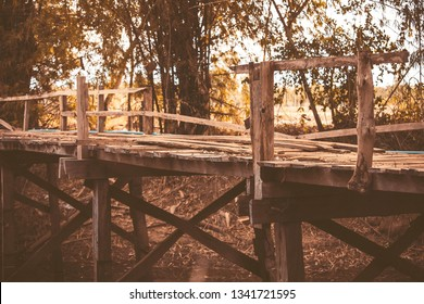 Old wooden bridge,beauty of nature concept. Old, wooden, wooden bridge over river,Vintage concept
