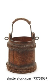 old wooden bucket on white background